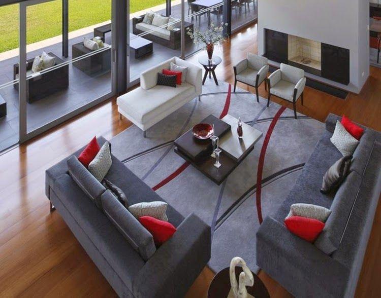 Sala gris y rojo decoraci n pinterest sala gris for Comedor gris con rojo