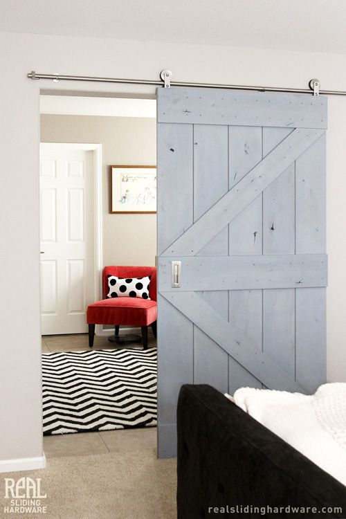 Real Sliding Hardware Real Barn Doors Were Used To Divide The Hallway Between The Master Bedroom And B Interior Barn Doors Barn Doors Sliding Real Barn Doors