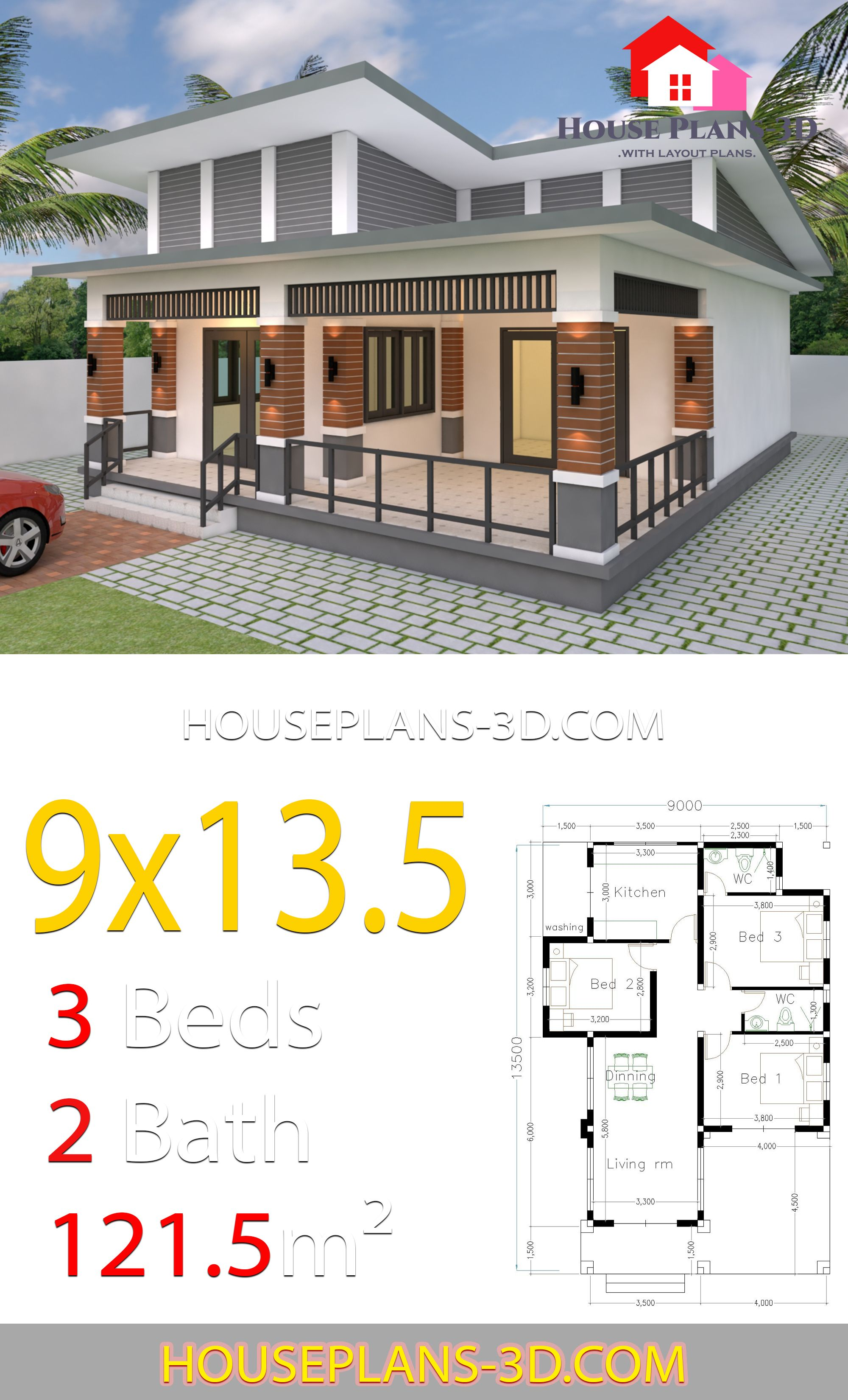 House Design 9x13 5 With 3 Bedrooms Slop Roof House Plans 3d House Plans My House Plans Modern Style House Plans