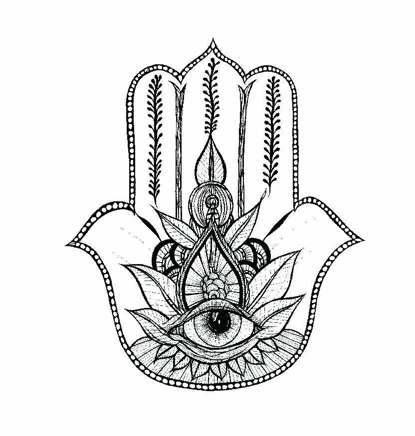 mandala hamsa hand coloring pages for adults sketch