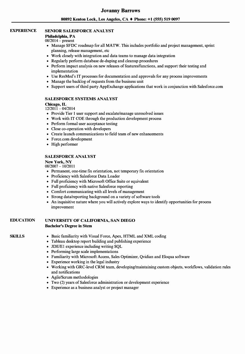 Salesforce Administrator Resume Examples Lovely Salesforce