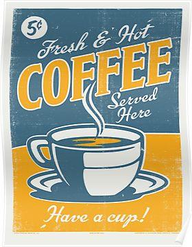 Vintage Poster Coffee Poster Vintage Posterler Kahve Murekkep