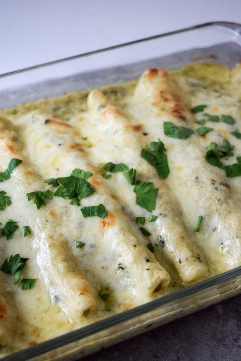 Poblano Sour Cream Chicken Enchiladas A Simplified Life Recipe Mexican Food Recipes Enchilada Recipes Recipes
