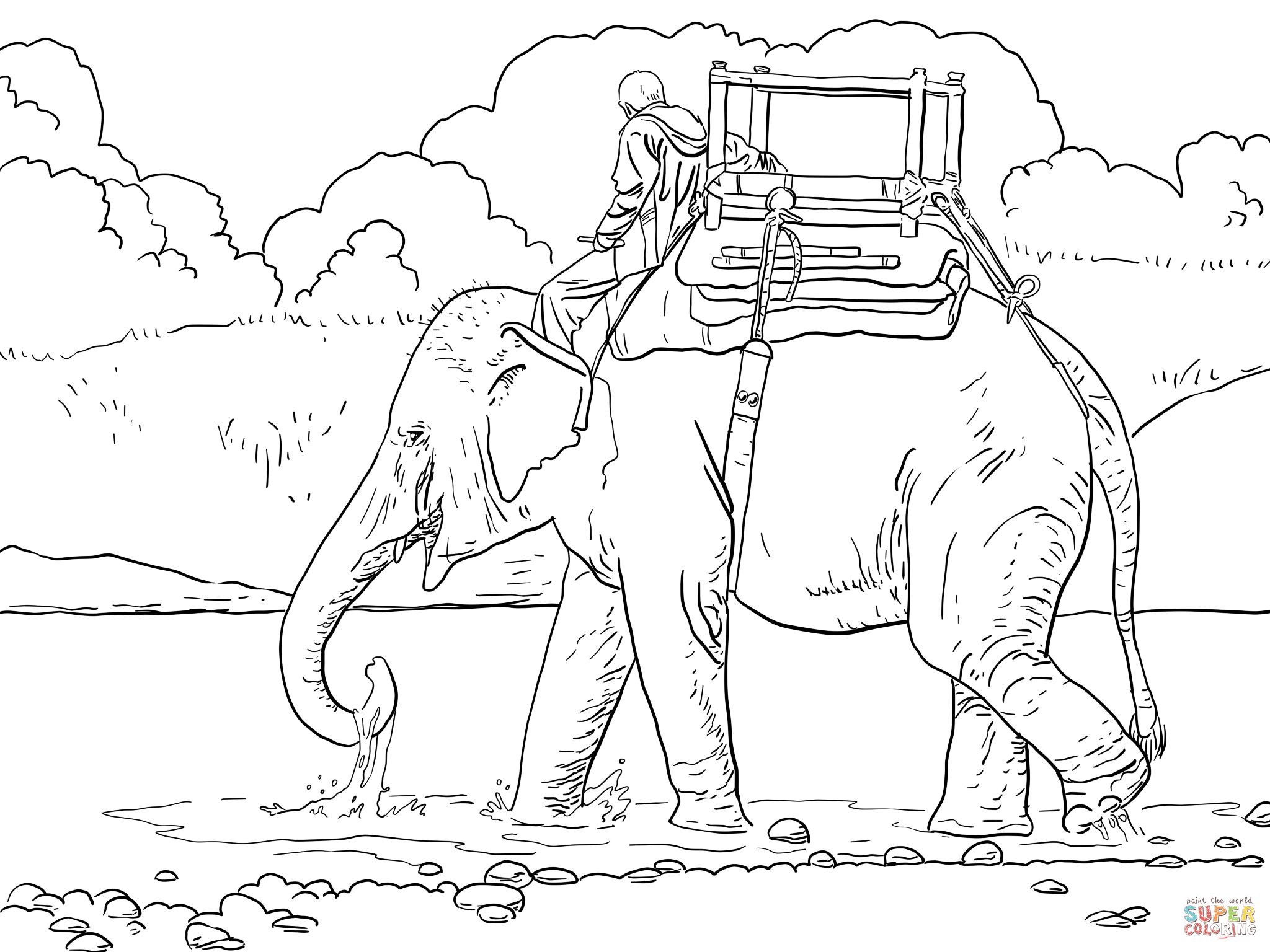 Riding Indian Elephant Super Coloring Elephant Coloring Page Farm Animal Coloring Pages Coloring Pages