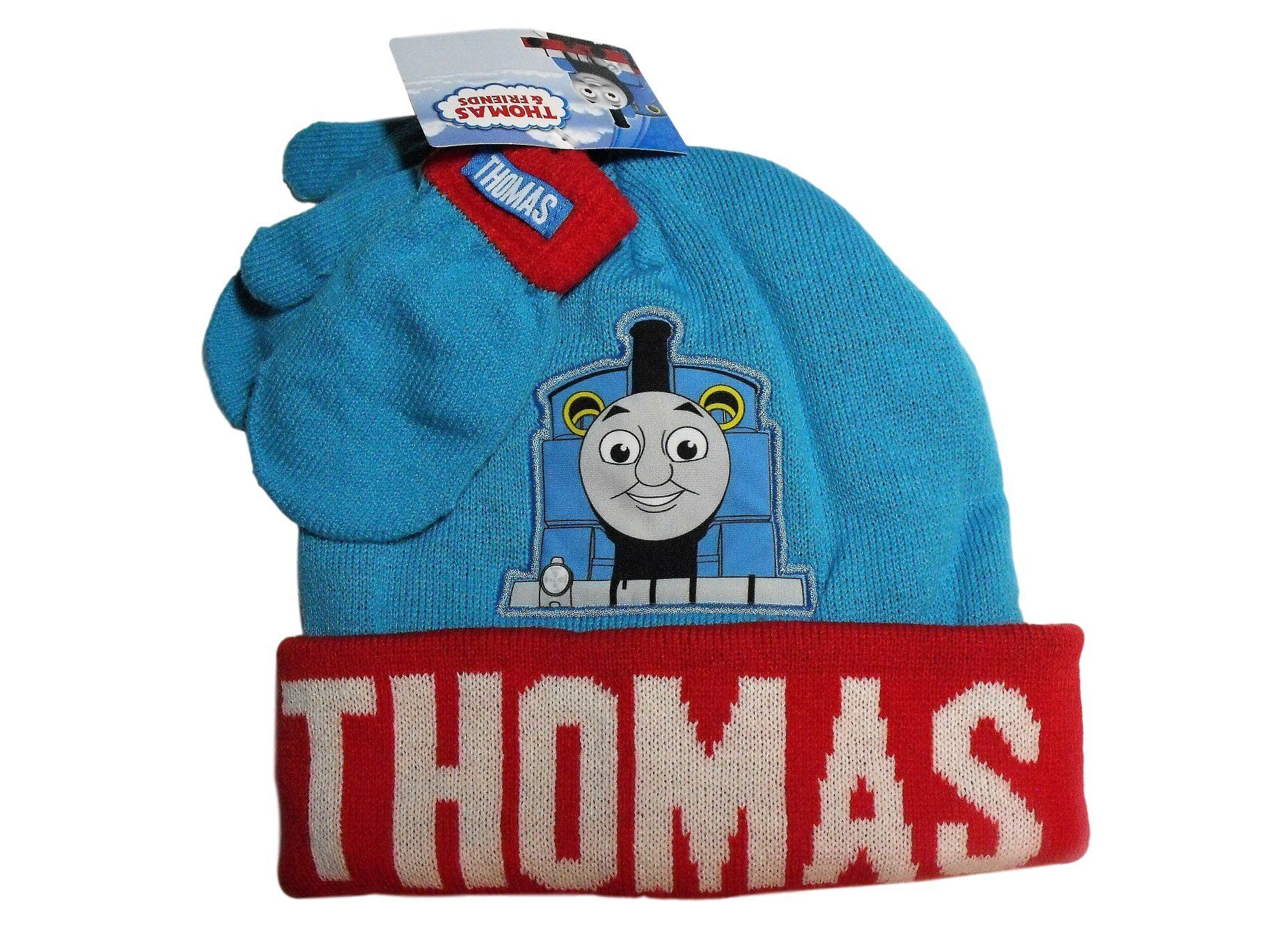 8b95e1d77 Thomas & Friends Tank Engine Blue Red Toddler Knit Hat and Mitten ...
