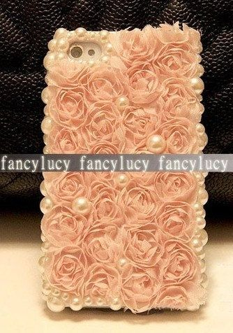 Handmade Bling Diamond Crystal iPhone  4S Case Cover Pearls Cloth Pink Roses. $11.98, via Etsy.