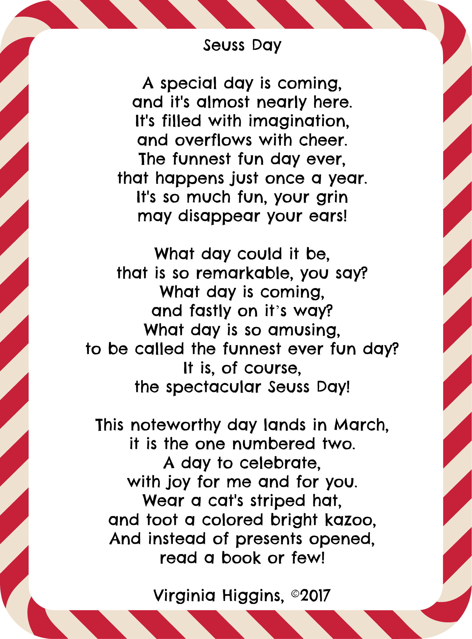 Celebrate Dr Seuss Day 5x7 Printable Seuss Day Poem By