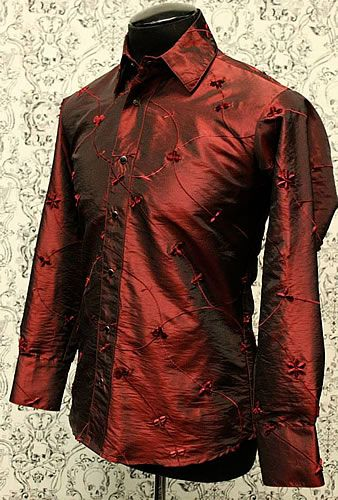 EMBROIDERED DRESS SHIRT - BURGUNDY by Shrine Clothing Gothic Tops Blouses
