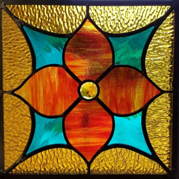 True North stained leaded glass panel 12 inches square by yesglass