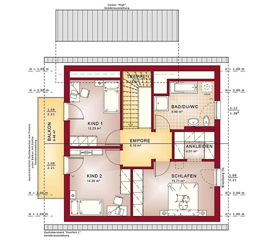 Haus Grundriss Einfamilienhaus Obergeschoss quadratisch