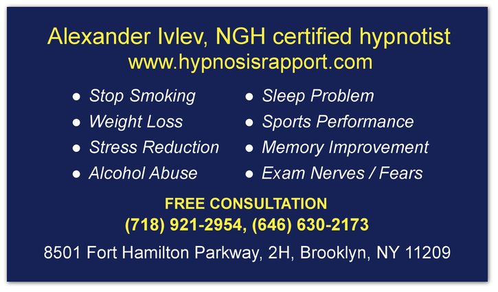 Alexander Ivlevs Hypnosis Business Card Hypnosis Service In New