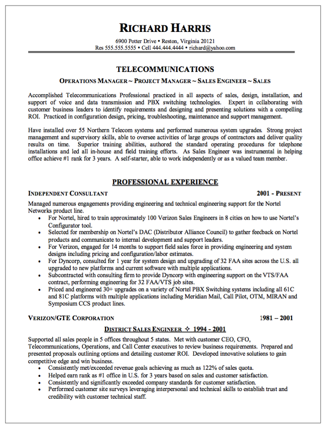 Sample Of Telecommunication Resume  HttpResumesdesignCom