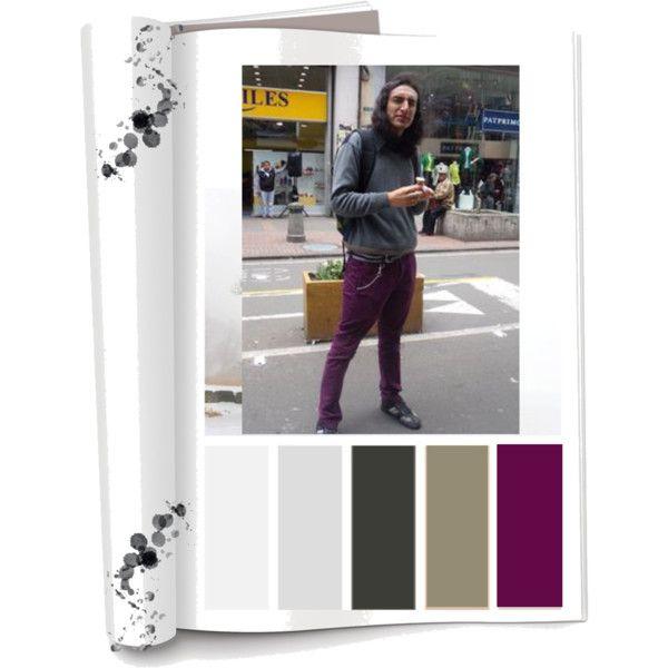 Paleta de color: Colores Fríos (Negro, gris,morado) Ropa: Pantalón,saco,camisa y tenis. Accesorios:Maleta. Es una persona relajada