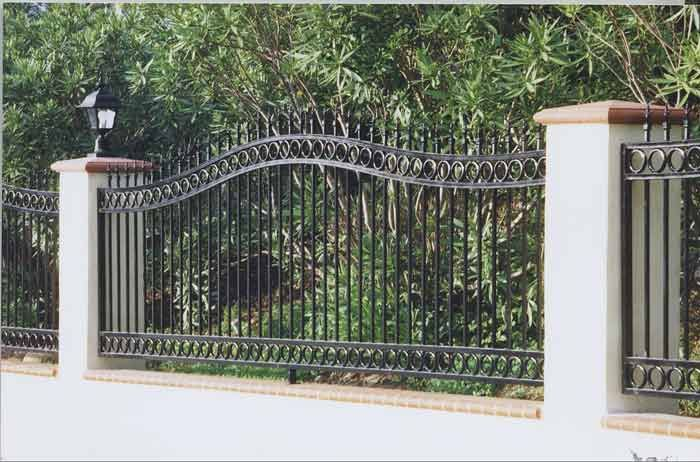 Front Yard Patio Landscaping Pictures With Wrought Iron Fencing