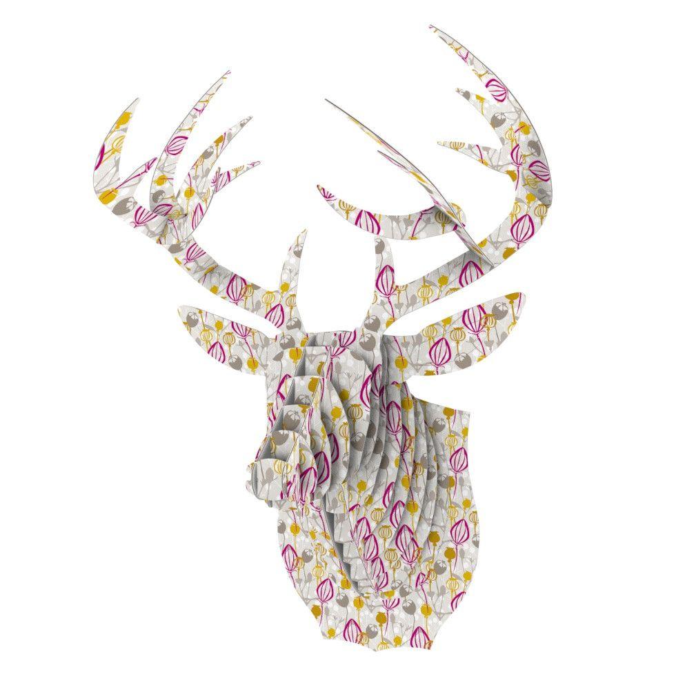 """Julie Hamilton """"Mulberry"""" Pink Yellow Bucky Deer Bust Jr."""
