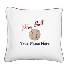 Personalize It! Play Ball Bas Square Canvas Pillow