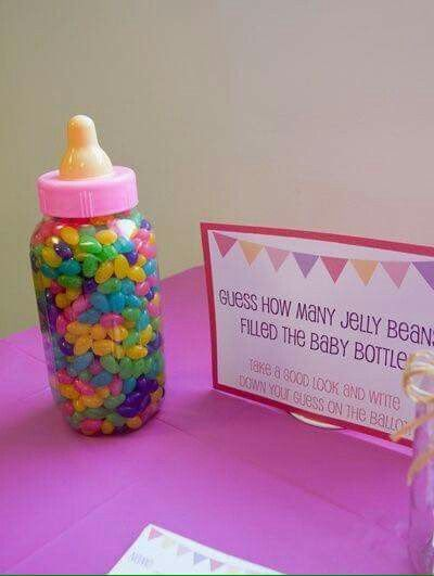 Fun Baby Shower Idea Fill A Baby Bottle With Jelly Beans And Have