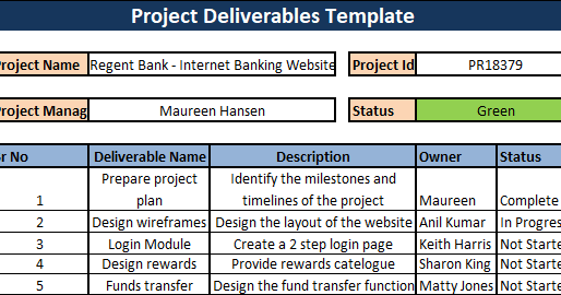 Project Deliverables Template Download | Project management