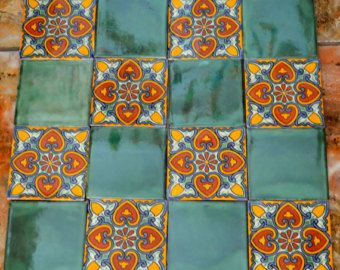 16 Mexican Talavera Tiles handmade Hand painted 4 by MexicanTiles