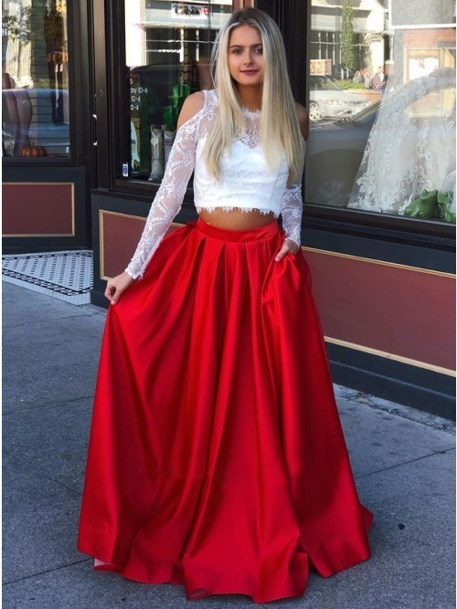 Zweiteiliges, langärmliges, schulterfreies, rotes, langes Abendkleid mit Spitzenbesatz, AE049   – Vestidos