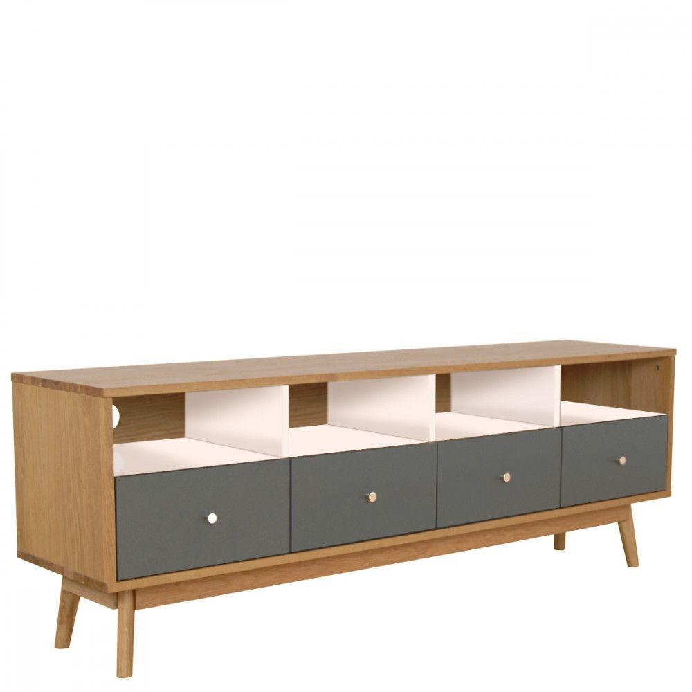 meuble tv design scandinave 4 tiroirs skoll noir vue de face meubles. Black Bedroom Furniture Sets. Home Design Ideas