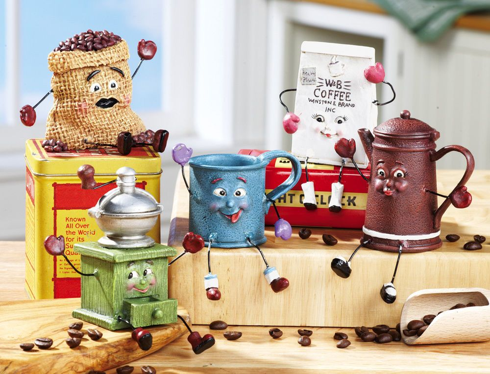 Set 5 Coffee Shaped Kitchen Shelf Sitter Statues Home Decor Accent NEW  I5783J44