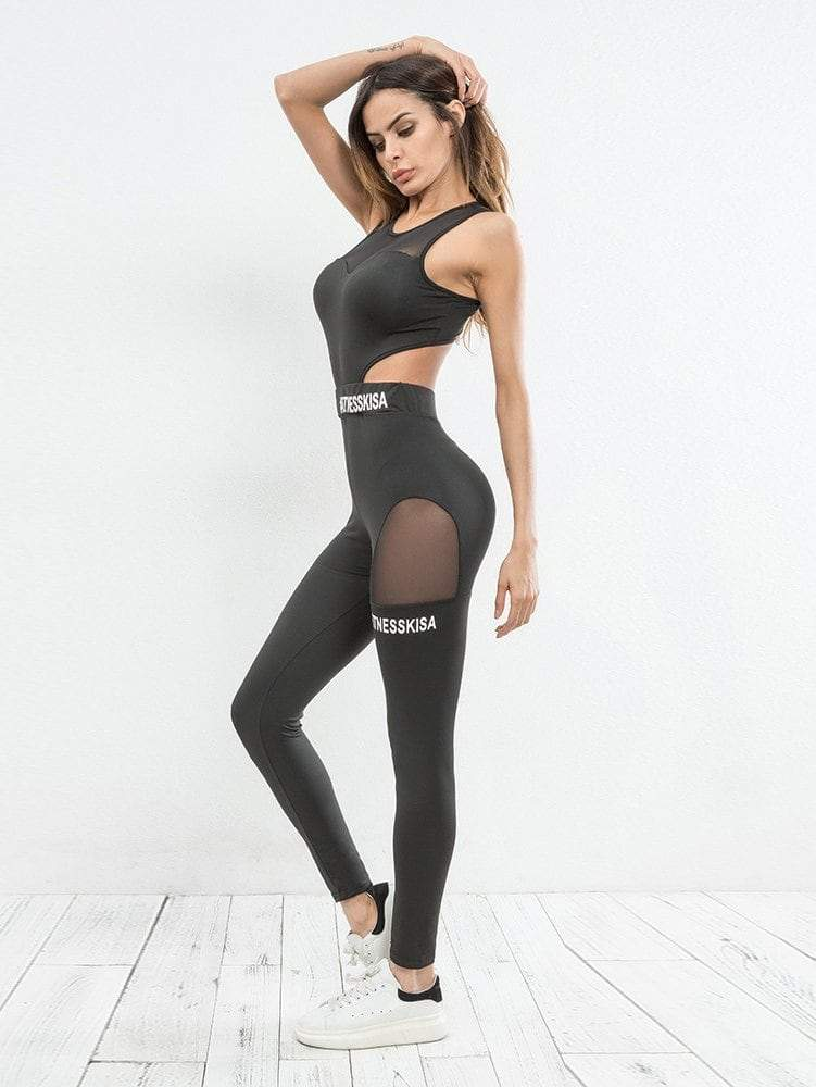 Mesh Panel Cut Out Gym Fitness Jumpsuit . . . . . .  fashion  moda  uwu   blogger  beauty  model  outfitoftheday  stylish  instafashion  outfit   spacewheel ... 7d4b438db