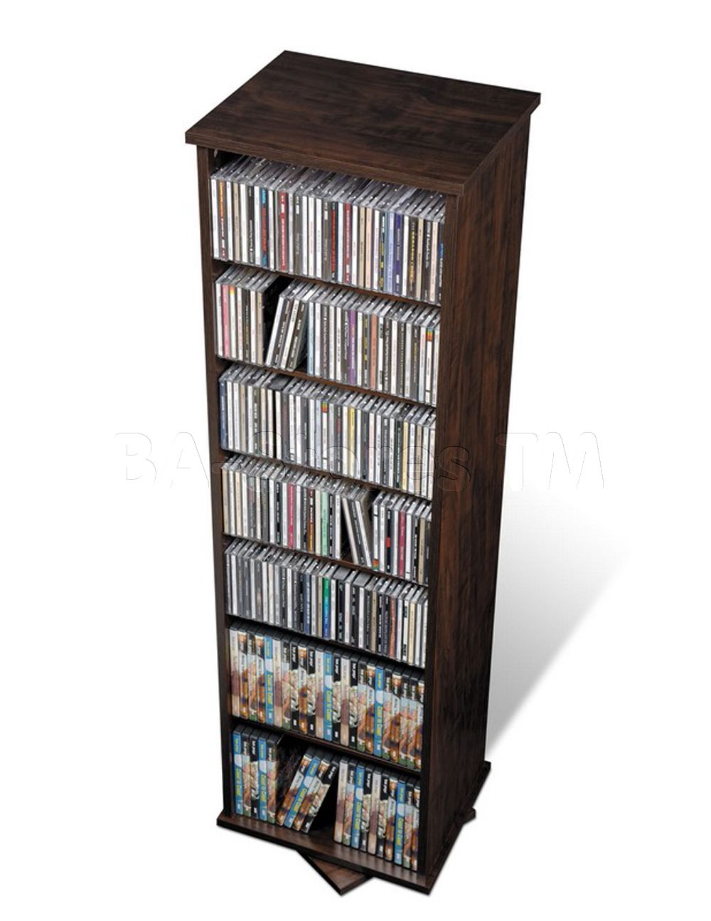 Two Sided Spinning Tower In Espresso Prepac Furniture Cd Dvd
