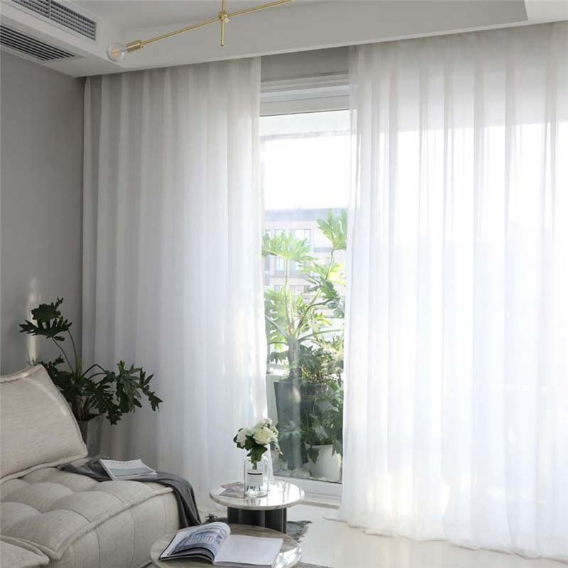 Solid White Sheer Curtain Modern Simple, Sheer Curtains For Living Room