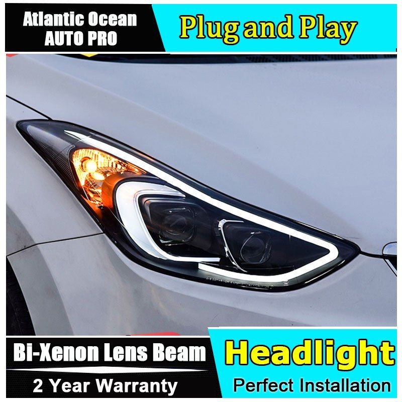 2013 2014 2015 2016 For Hyundai Elantra Headlights Car Styling Light Guide H7 Elantra Head Lamps Bi Xenon Double Lens Par 2pcs Stuff To Buy Sports Car Car