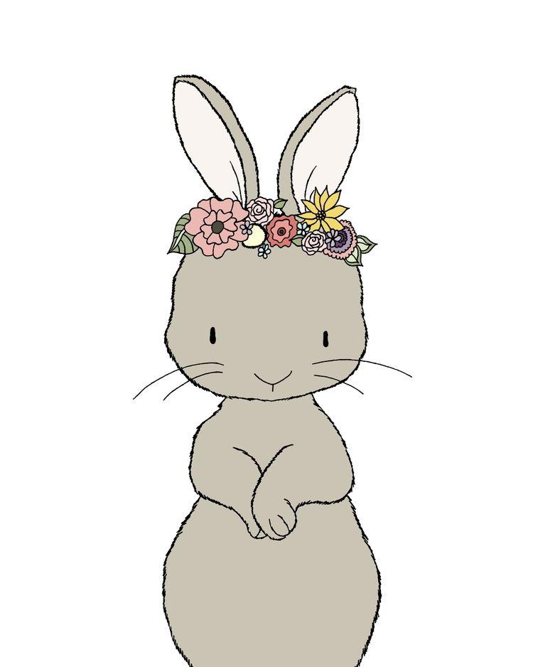 Nursery Art Bunny Fl Crown Woodland