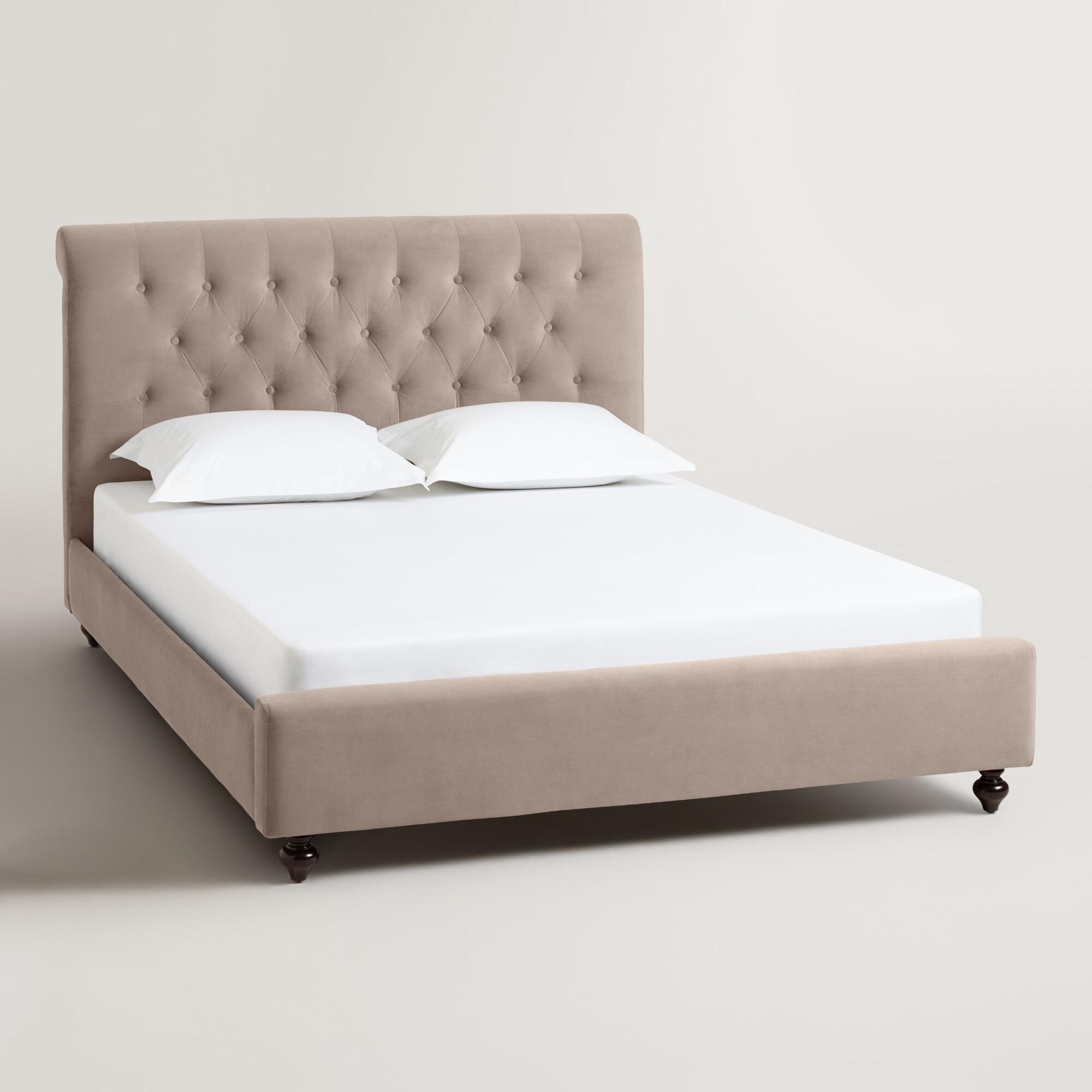 Velvet Erin Upholstered Bed: Gray
