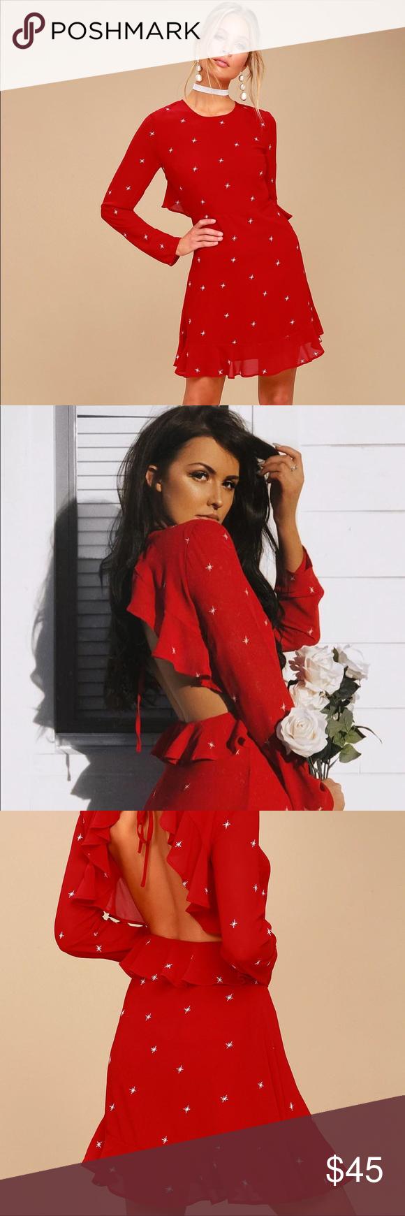 Luluus red constellation backless dress nwt
