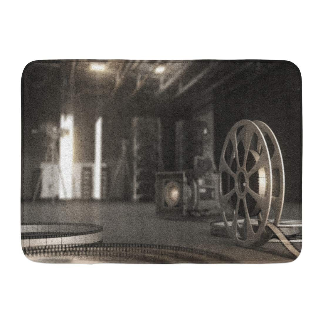 Movie Film Reel with Tape and Cinema Equipment Filmstrip Recording Rug