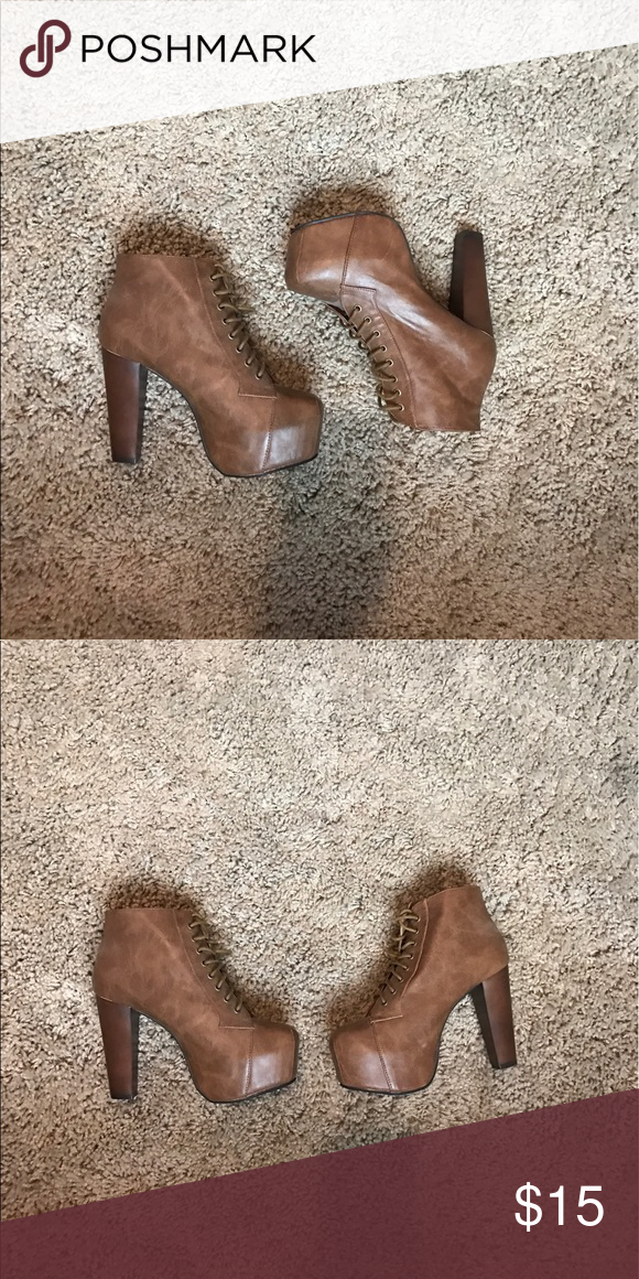 Very Cute Lace Up Booties Very Cute Lace Up Booties. Worn Once. Very comfortable. Shoes Heeled Boots
