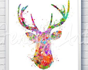 antler stag deer watercolor art print watercolor painting animal watercolor art painting. Black Bedroom Furniture Sets. Home Design Ideas