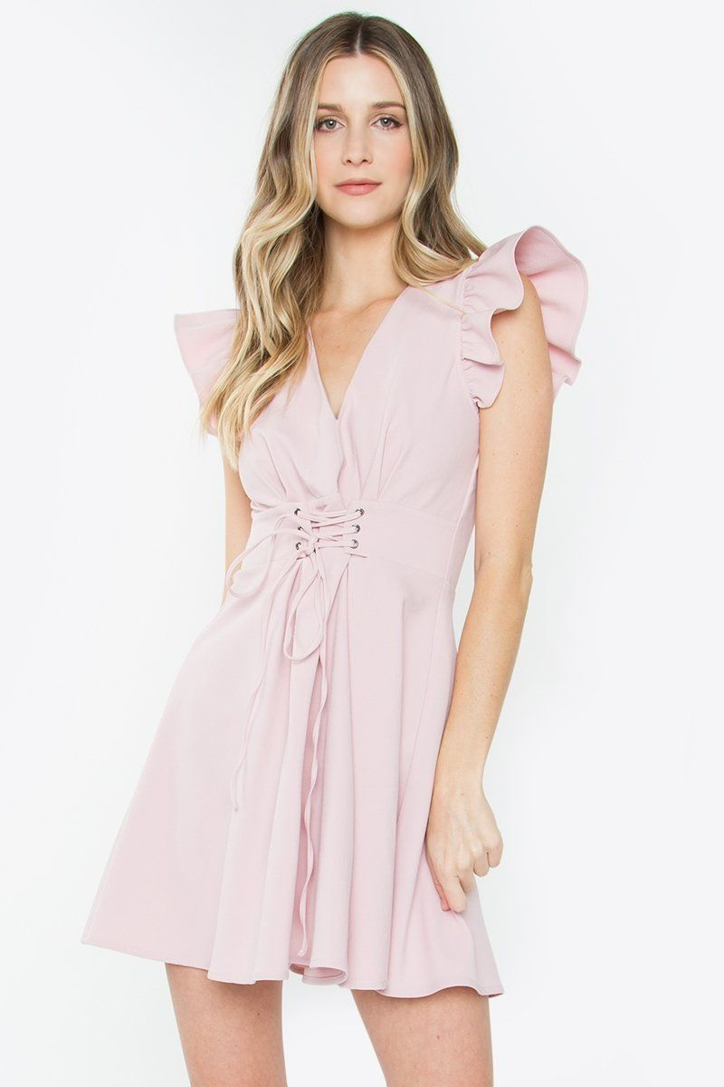 03f68fb0865 Pink Ruffle Sleeve Belted Dress