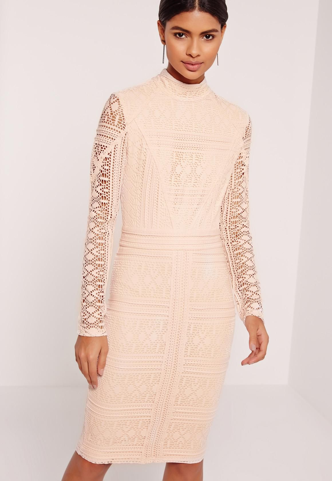 9e4b2221b7764 Missguided - Lace Long Sleeve High Neck Midi Dress Nude | The Knot ...