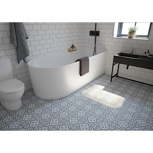 Wickes Co Uk Patterned Bathroom Tiles Blue Bathroom Tile Patterned Floor Tiles