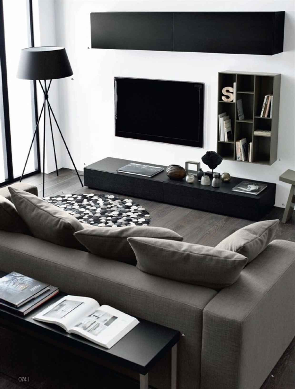 Merveilleux 32 Perfectly Minimal Living Areas For Your Inspiration   UltraLinx Meuble  Tv Noir, Salon Noir