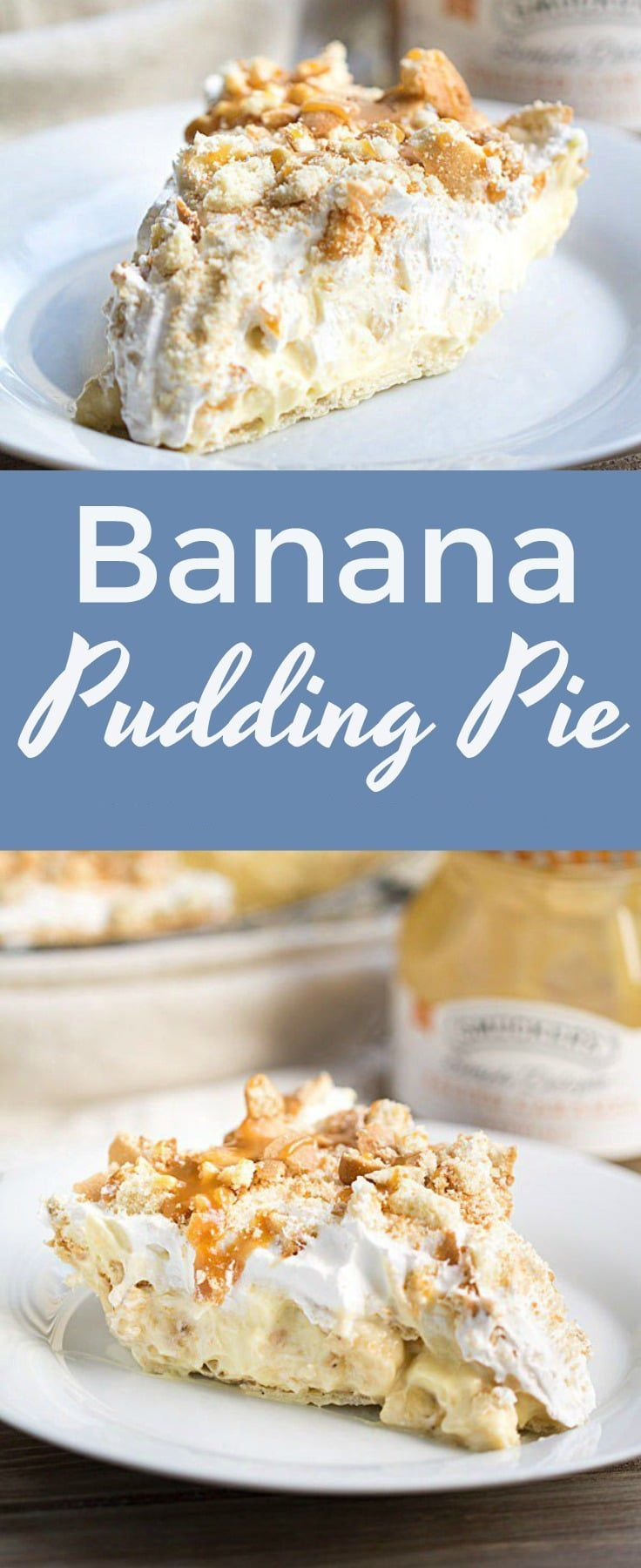 THE BEST EVER BANANA PUDDING PIE RECIPE - This Banana Pudding Pie tastes just like banana pudding, but there's no hassle about distributing it among jars or cups. Everyone gets a heaping slice of creamy, decadent banana goodness! #bananapie