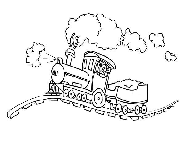 Steam Train On Bumpy Railroad Coloring Page Color Luna Cartoon Coloring Pages Train Coloring Pages Coloring Pages
