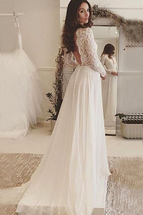 Ivory Chiffon V-Neck Long Sleeves Backless Wedding Dress with Lace ...
