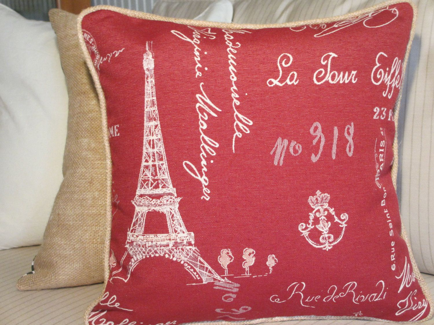 French Country Pillow Cover, Eiffel Tower Red Paris Fabric ...