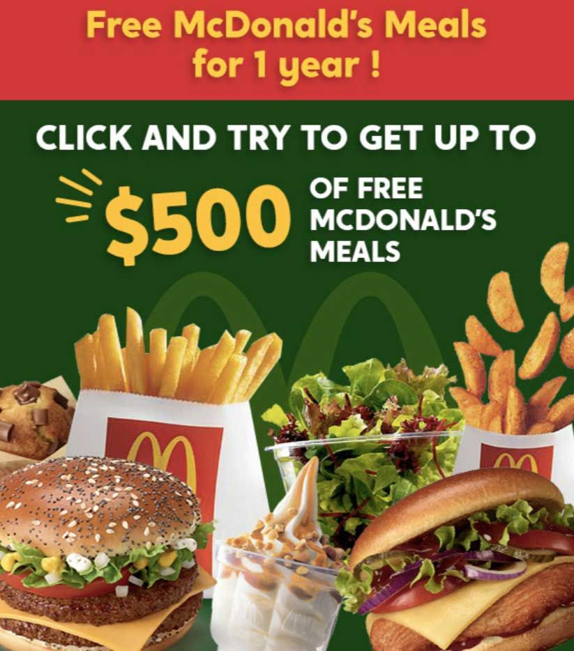 Free Mcdonald S Meals For 1 Year 500 Mcdonald S Free Meals