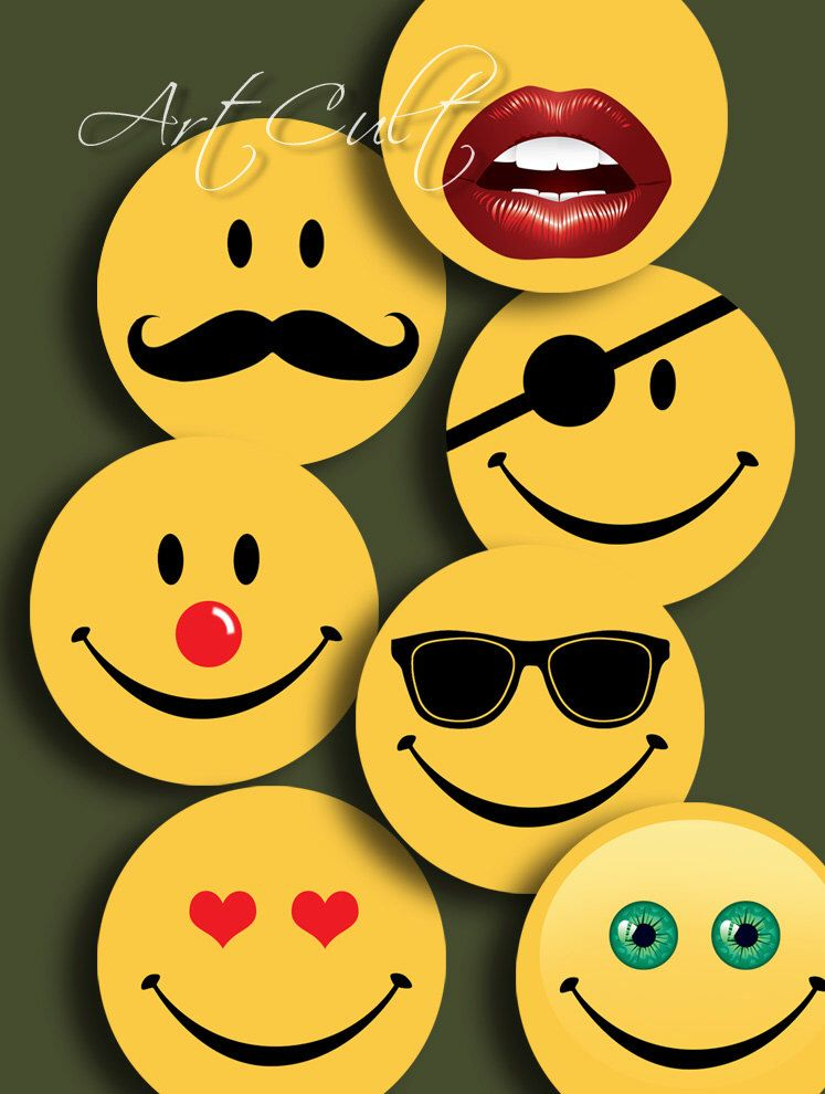 Funny Smiley Faces Digital Collage Sheet 1 Inch And 15 Inch Size