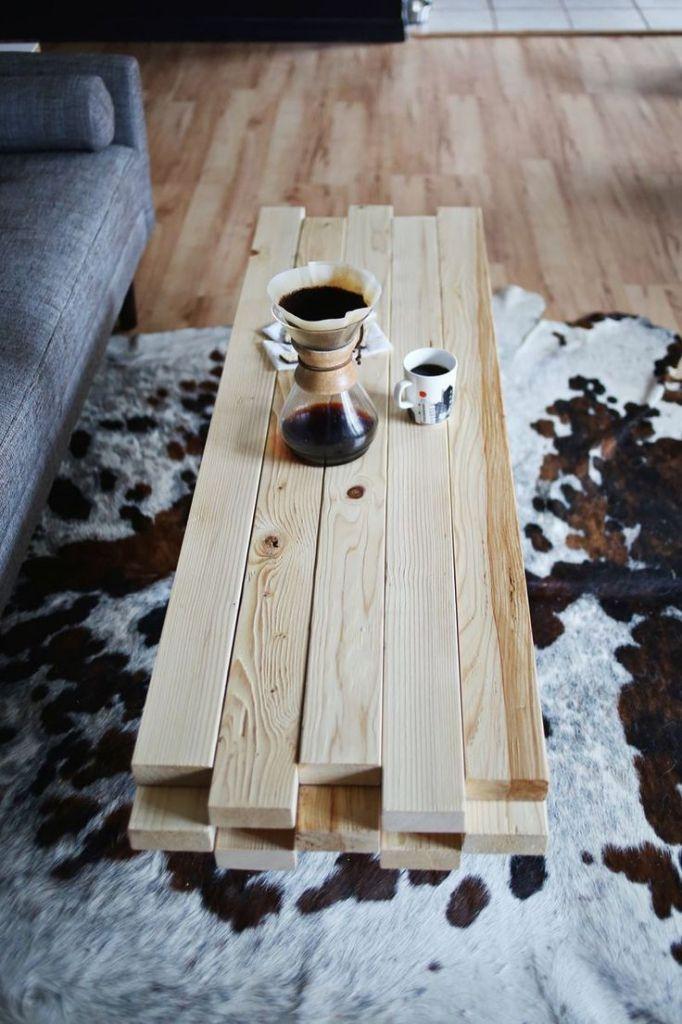 ƹӂʒ Diy Fabriquer Une Table Basse Avec Des Planches De