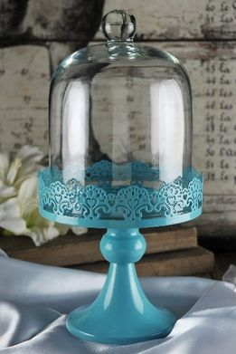 Cake Stand Blue Pedestal 11in with Glass Dome Cover