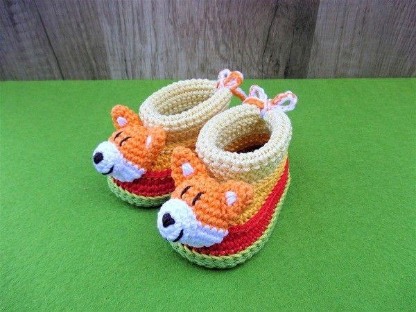 Häkelanleitung Baby-Booties / Babyschühchen Fuchs - 4 Größen ...