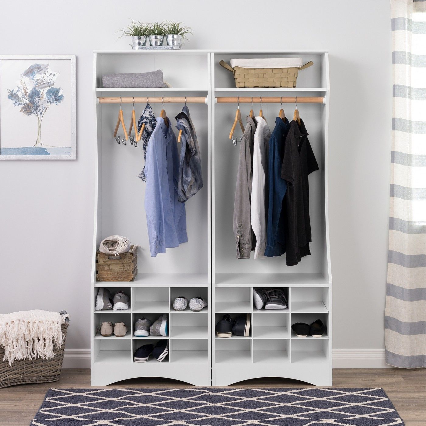 Narrow Wardrobe With Shoe Storage White Prepac Shoe Storage